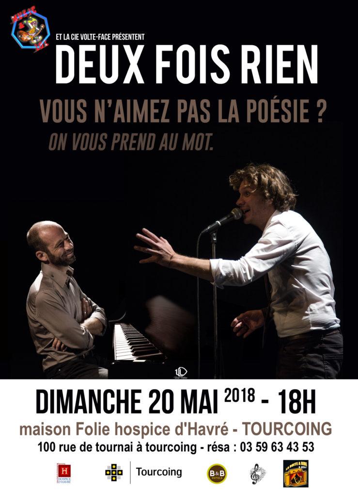 """Affiche du Spectacle """"DEUX FOIS RIEN"""" LE 20 MAI 2017 A TOURCOING"""